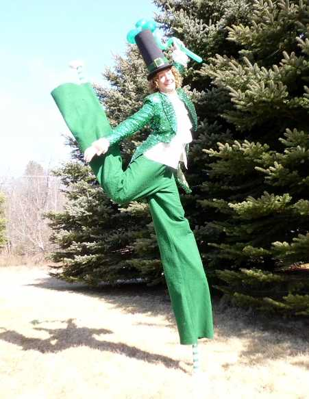 Leprechaun Stiltwalking NYC